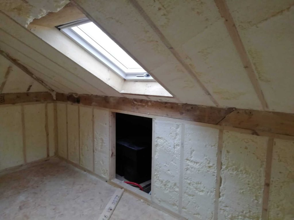 Attic insulated with spray foam insulation